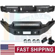 Offroad Textured Steel Front Rear Bumper Guard W/ Led Lights For 13-18 Dodge Ram