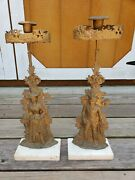 Antique Brass Pair Victorian Candle Holders Cornelius And Co 1848 Colonial Indian