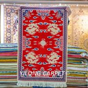 Yilong 2and039x3and039 Red Handwoven Carpets Silk High Density Home Tapestry Area Rug 061h