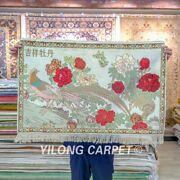 Yilong 2and039x3and039 Handmade Carpet Silk High Density Red Flower Tapestry Area Rug 065h