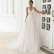Beach Wedding Dresses Bridal Gowns Bohemian Lace Halter Appliques Tulle Clothing