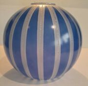 Antique Vtg Glass Globe Lamp Shade Cobalt And Silver Gwtw Banquet Parlor