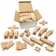 Tiny Conductors Wooden Train Set - 52-piece Train Track Assorted Sizes