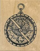 Toybox Rubber Stamp Gyroscope Compass Map Collage