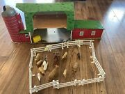 Happi Time Sears Vintage 1950s Toy Tin Farm And Plastic Set Pieces