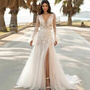 Summer Beach Wedding Dress Side Slit Laced V Neck Flare Sleeves Button Tulle New