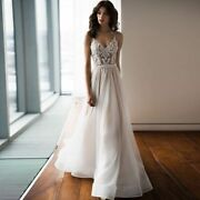 Sexy Wedding Dress Spaghetti Strap Lace Tulle Open Back A Line Beads Brush Train