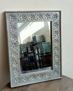 Bohemian And Vintage Mirror, Indian Hand Carved Wooden Mirror, Rustic Mirror