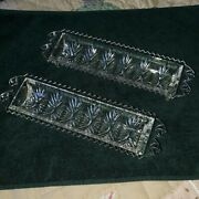 2 Crystal Rounded Cut Glass Double Handle Footed Vintage Celery Serving Dish Nic