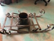 Vintage Large Cast Iron Christmas Tree Stand With Sleigh Heavy Duty