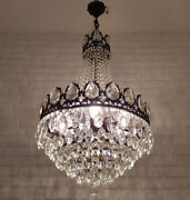 Antique Vintage Brass And Crystals French Huge Chandelier Lighting Ceiling Lamp