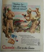 1944 Wwii Military Soldiers Smoking Camel Cigarettes Attaboy Joe Light Up Ad