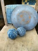 2 Rag Balls Made From 1890s Blue Calico