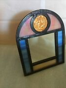 Stained Glass Mirror New Orleans Alain Cuneo @2000 Mardi Gras Coin Baccus 1986
