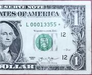 2013 1 San Francisco Star Note Rare Low Only 80k Run Serial L00013355⭐️