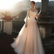 Wedding Dress Bridal Wear Princess Long Puff Sleeves Lace A-line Appliques Gowns
