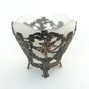 Vintage White Frosted Glass Bowl Silverandndashplated Stand Cherubs Birds Corbell And Co.
