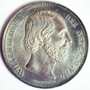 1867 Netherlands Silver 2 1/2 Gulden Coin Xf-au Possibly Cleaned William Iii