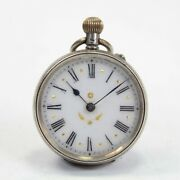 Antique Silver Fob Pocket Watch 800 Continental Pretty Crown Wind 15 Repairs