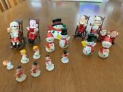 Miniature Christmas Decorations Including Santa And Mrs Claus In Rocking Chairs