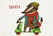 Badger Wears Glasses Tattoo Drives Scooter By Oi Oilikki Russian Modern Postcard