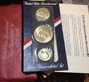 1976 Us Bicentennial Silver Uncirculated 3 Coin Set Red Pack