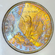 1885-p Ngc Ms63 Morgan Nice Colorful Paper Wrapped Rainbow Toning Jh