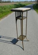 Antique Art Deco Belgium Metal Brass Display Stand Sellette Secessionist Marble