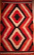 Beautiful 19th C Navajo Blanket Fiery Orange Classic Double Diamond Excellent
