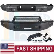 Textured Front + Rear Bumper Guard W/ Led Lights For 15-17 Chevy Silverado 2500