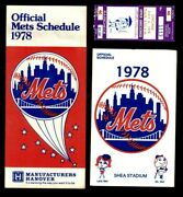 1978 New York Mets 3 Items - Ticket Stub July 6 And 2 Schedule Booklets Ex