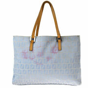 Authentic Fendi Zucca Pattern Hand Bag Canvas Leather Blue Made In Italy 61mh144