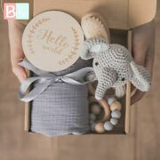 Baby Towel Newborn Bath Toy Set Double Sided Cotton Blanket Wooden Rattle