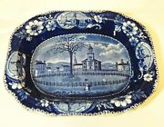 Antique C1820s Clews Historical Staffordshire Pittsfield Ma Serving Dish Bowl