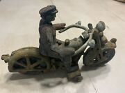 Vintage Cast Iron Motorcycle Toy With Police/military Rider