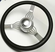 New 15 Banjo Style Steering Wheel Black Leather With Alum Adapter And Horn Button