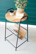 Gwg Outlet Wood And Rustic Metal Side Table With Magazine Rack Cjs1184