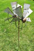 Double Sided 2 Spinner Square Blades Yard Stake Wind Spinner Whirly-gig Windmill