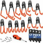 Garage Hooks Heavy Duty [ 17 Piece Set ] - Our Garage Hooks Wall Mount To Any