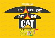 Caterpillar 312d Large Stripes Excavator Decals / Stickers Compatible Full Set