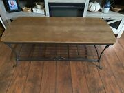 Longaberger Wrought Iron Coffee Table Stand With Woodcrafts Shelfeuc