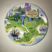 Disney Parks Neverland Collection Authentic Peter Pan Dessert Plate Welcome Sign