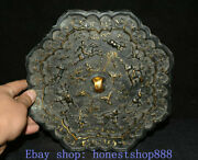 10 Old Chinese Bronze Gilt Palace Man Ride Horse Hunting Tree Bronze Mirror