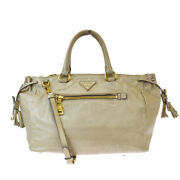 Authentic Prada Milano 2way Shoulder Hand Bag Leather Beige Gold Italy 61mh165