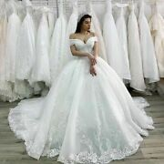 Princess Wedding Bridal Dress Customized Illusion Beaded Laced Appliques Lace Up