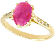 2.68 Ct Star Ruby And Diamond Ring In 14carat Yellow Gold 1950s Size M 1/2
