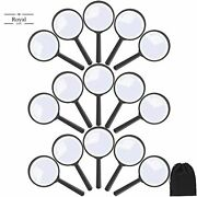 Elcoho 15 Pack Handheld Magnifier Plastic Magnifying Glass For Reading Jewelry