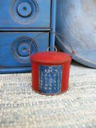 Tiny Early Antique Tin Toy Pail Red Milk Paint Abc Chart