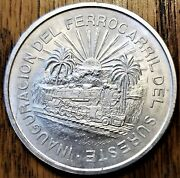 1950 Mexico 5 Pesos Uncirculated Silver Coin - Opening The Southeastern Railway