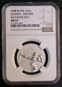1988 Silver 1/2 Ounce Olympic Archery Salvador Dali Ngc Ms 69 Medal Coin 5848